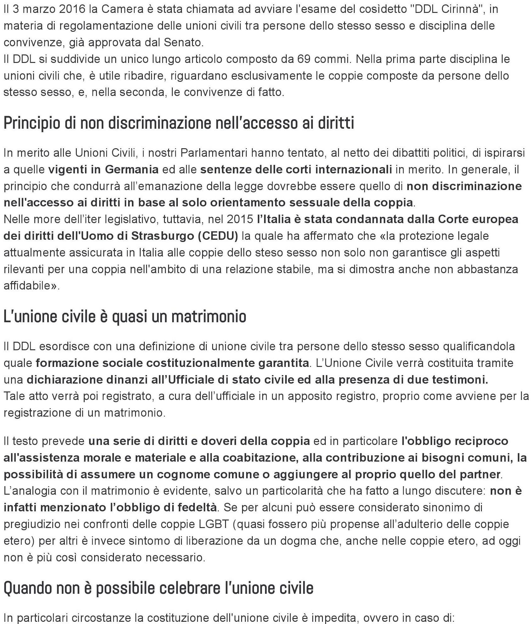 DDl Cirinnà- Unioni civili- Studio SLC